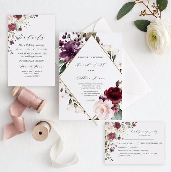 plum and blush wedding invitation