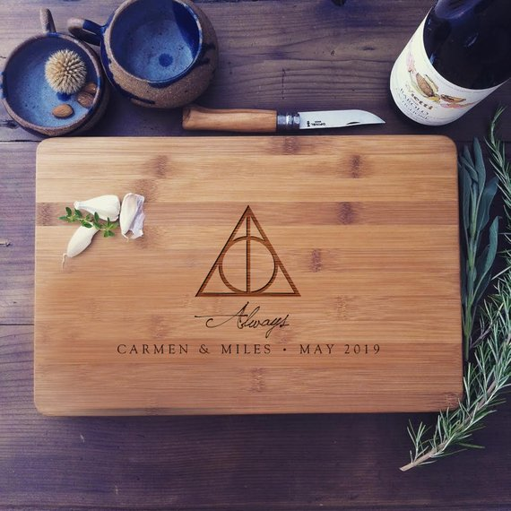 How to Throw a Harry Potter Wedding - Cutting Board by Wood Be Mine - #wedding #harrypotter #always #muggletomrs