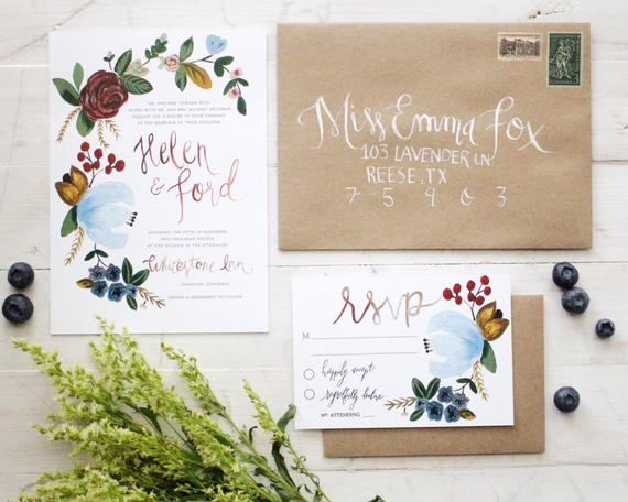 Planning a Burgundy & Dusty Blue Wedding - Invitations by Sugared Fig Paper - #wedding #maroonwedding #dustybluewedding