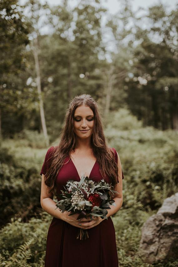 Planning a Burgundy & Dusty Blue Wedding - Bouquet by MKedra Wedding - #wedding #maroonwedding #dustybluewedding