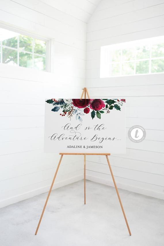 Planning a Burgundy & Dusty Blue Wedding - Sign by Savvy Bride Stationery - #wedding #maroonwedding #dustybluewedding