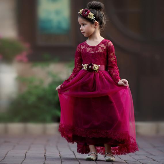 Planning a Burgundy & Dusty Blue Wedding - Flower Girl Dress by Sweet Valentina - #wedding #maroonwedding #dustybluewedding