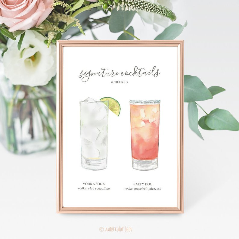 14 Gorgeous Ideas for an Outdoor Summer Wedding - Cocktail Sign by Watercolor Baby Prints - #weddings #summerwedding #outdoorwedding #summer