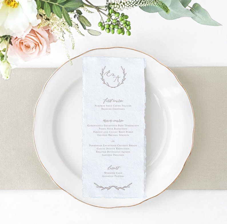 How to Put Together a Neutral Wedding - Menu by Heather O'Brien Design - #weddings #neutralweddings #weddingdecor