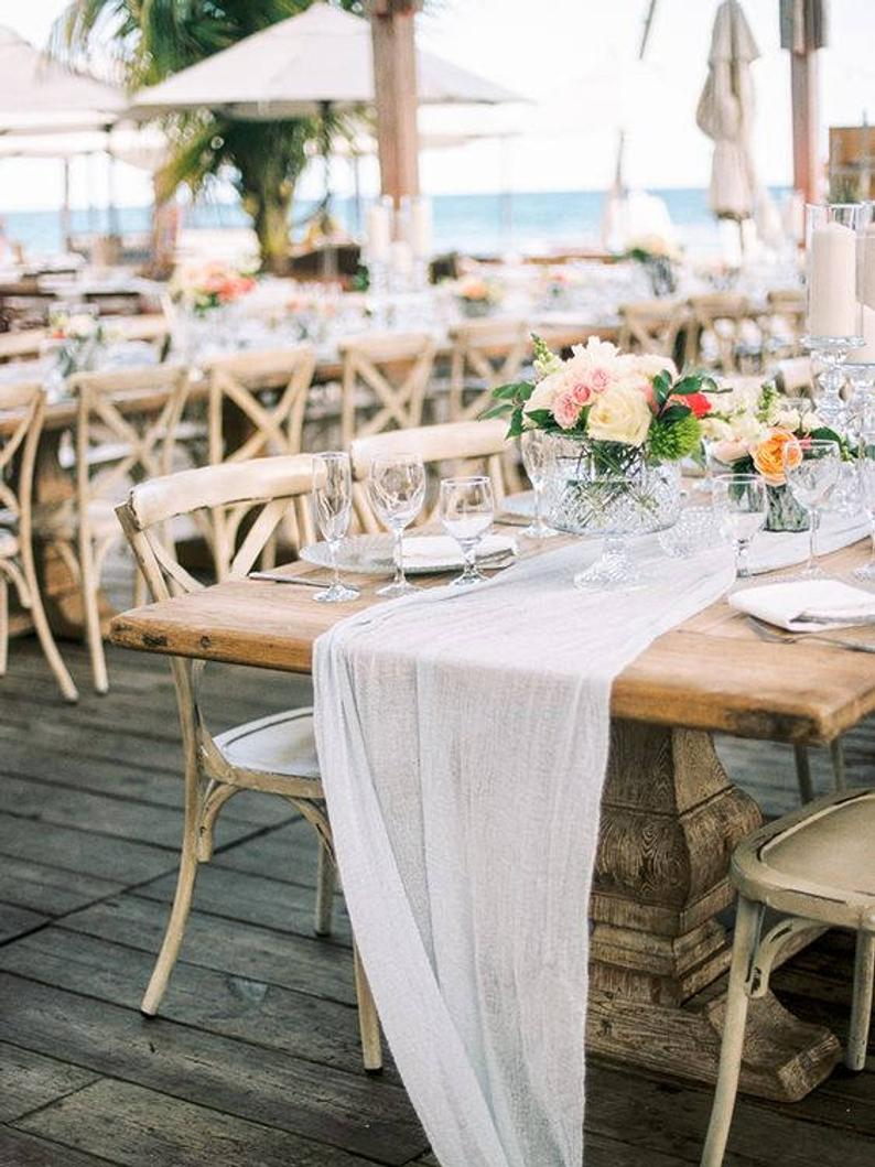 How to Put Together a Neutral Wedding -Cheesecloth Runner by Linen Lark - #weddings #neutralweddings #weddingdecor