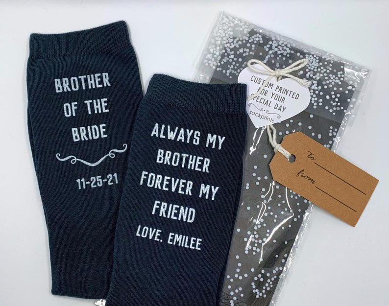 Gifts for Your Brother on Your Wedding Day - Socks by Shop Sock Prints - #weddinggifts #brother #wedding