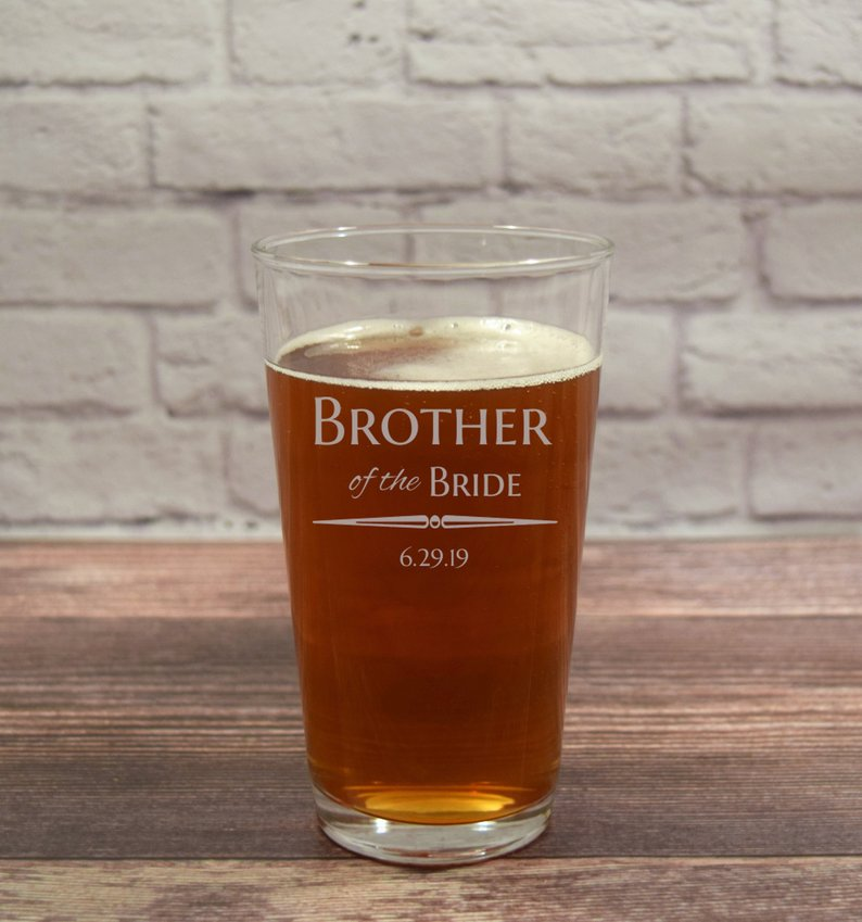 Gifts for Your Brother on Your Wedding Day - Beer Glass by Striped Poppy - #weddinggifts #brother #wedding