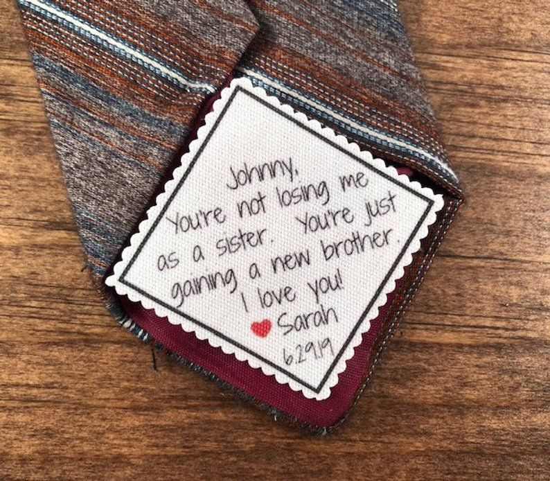 Gifts for Your Brother on Your Wedding Day - Tie Patch by Victoria Lynn Boutique - #weddinggifts #brother #wedding