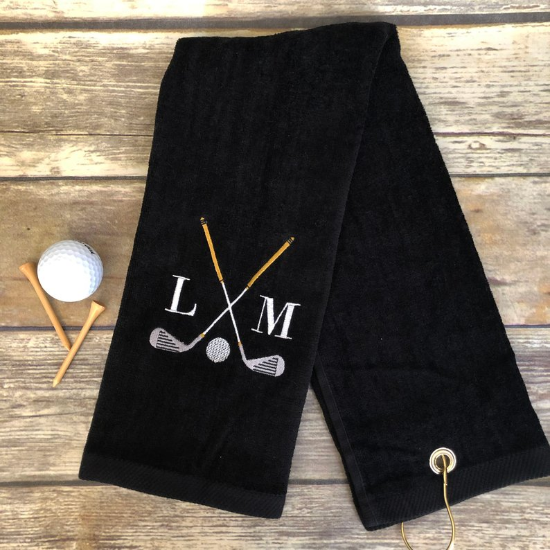 monogramed golf towel gift