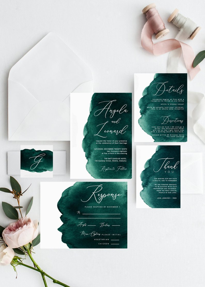 An Emerald & Gold Wedding - Invites by Heaven and Fifth Studio - #weddings #emeraldwedding #goldwedding