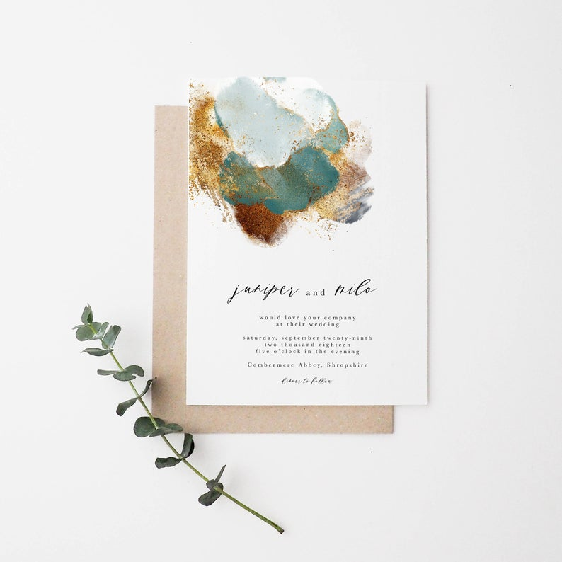 A Copper & Greenery Wedding - Invitation by Kelsie Wolfley Designs - #wedding #greenery #copper