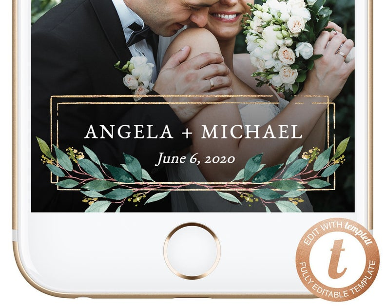 A Copper & Greenery Wedding - Snapchat Filter by Shop Jandy - #wedding #greenery #copper