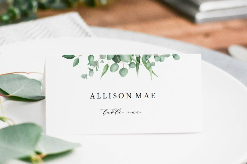 A Copper & Greenery Wedding - Escort Cards by Pine Tide Co - #wedding #greenery #copper