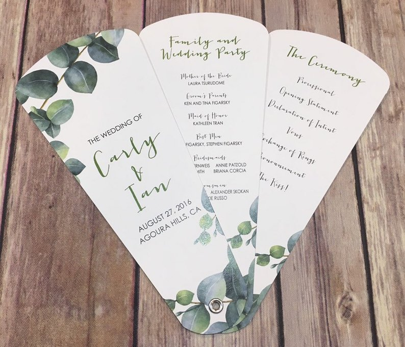 A Copper & Greenery Wedding - Program Fans by Wedding Sophisticate - #wedding #greenery #copper