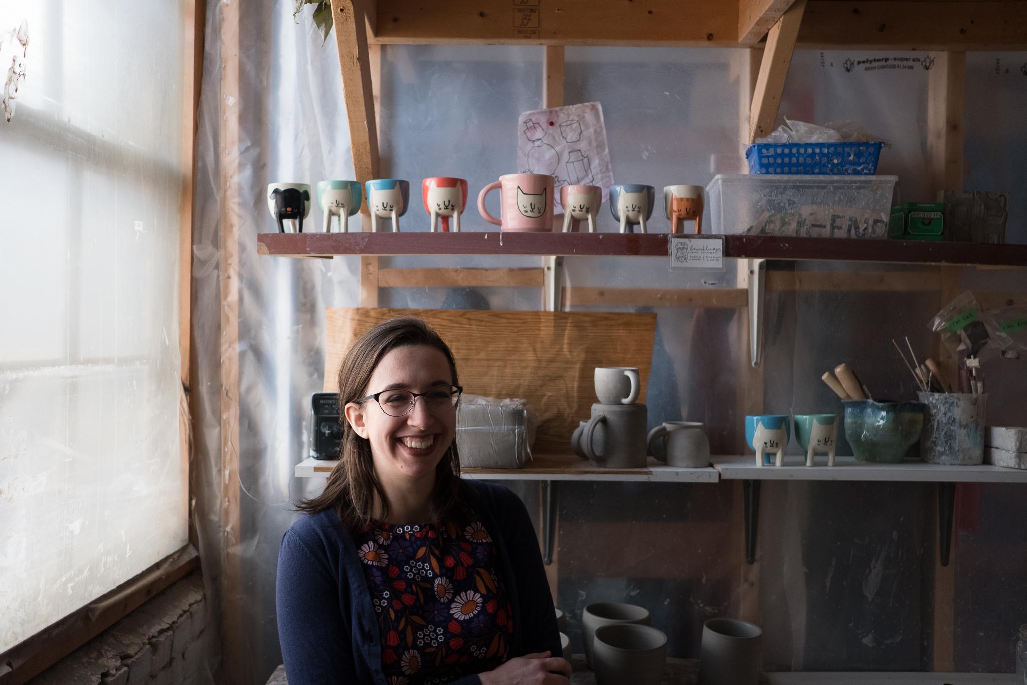 Alicia Zwicewicz with her Beardbangs Ceramics items
