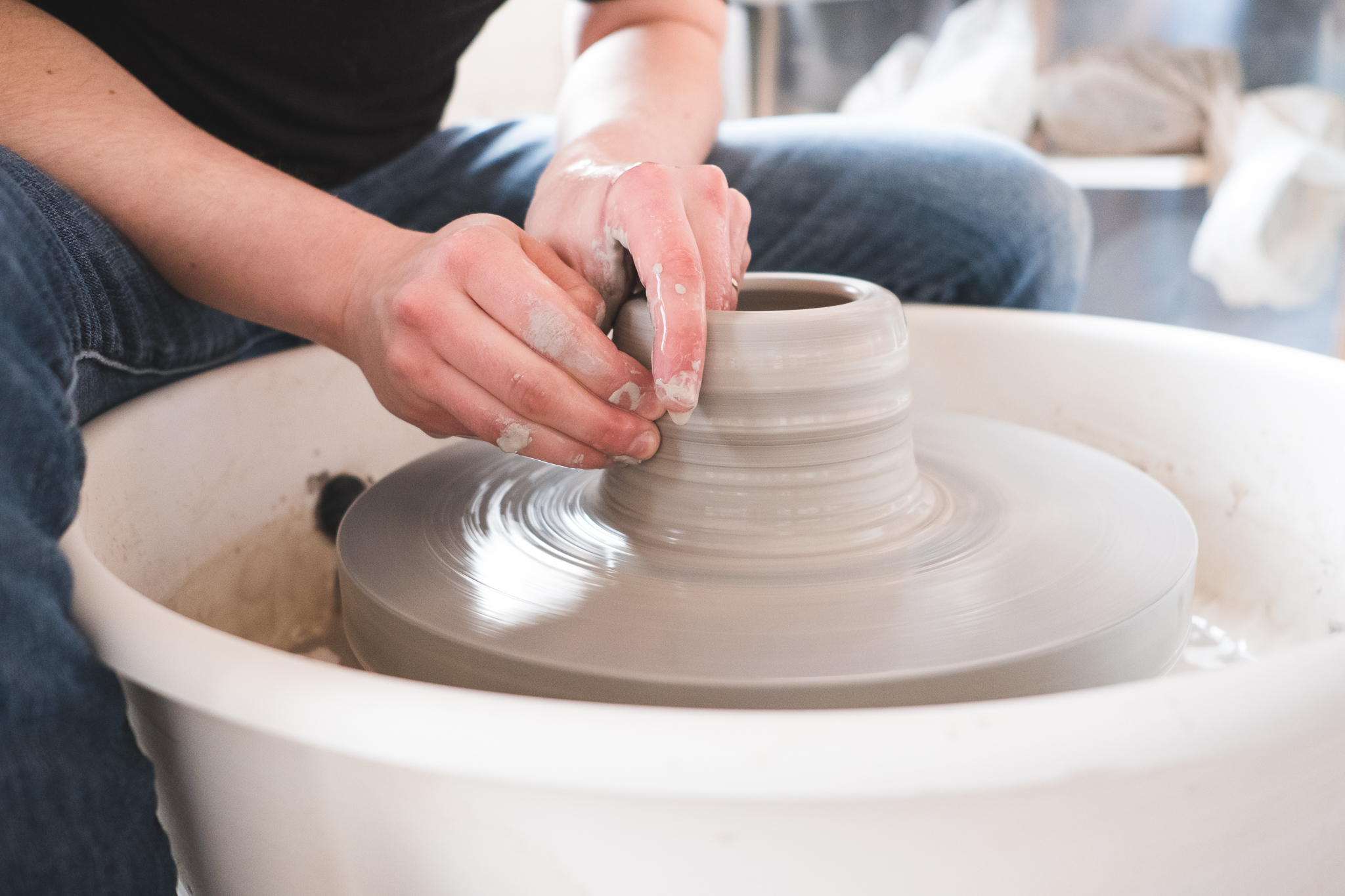 Alicia throws most of our pieces individually on the wheel (mugs, planters, plates), while others are slip-casted using handmade moulds, or are shaped by hand using wedged clay.