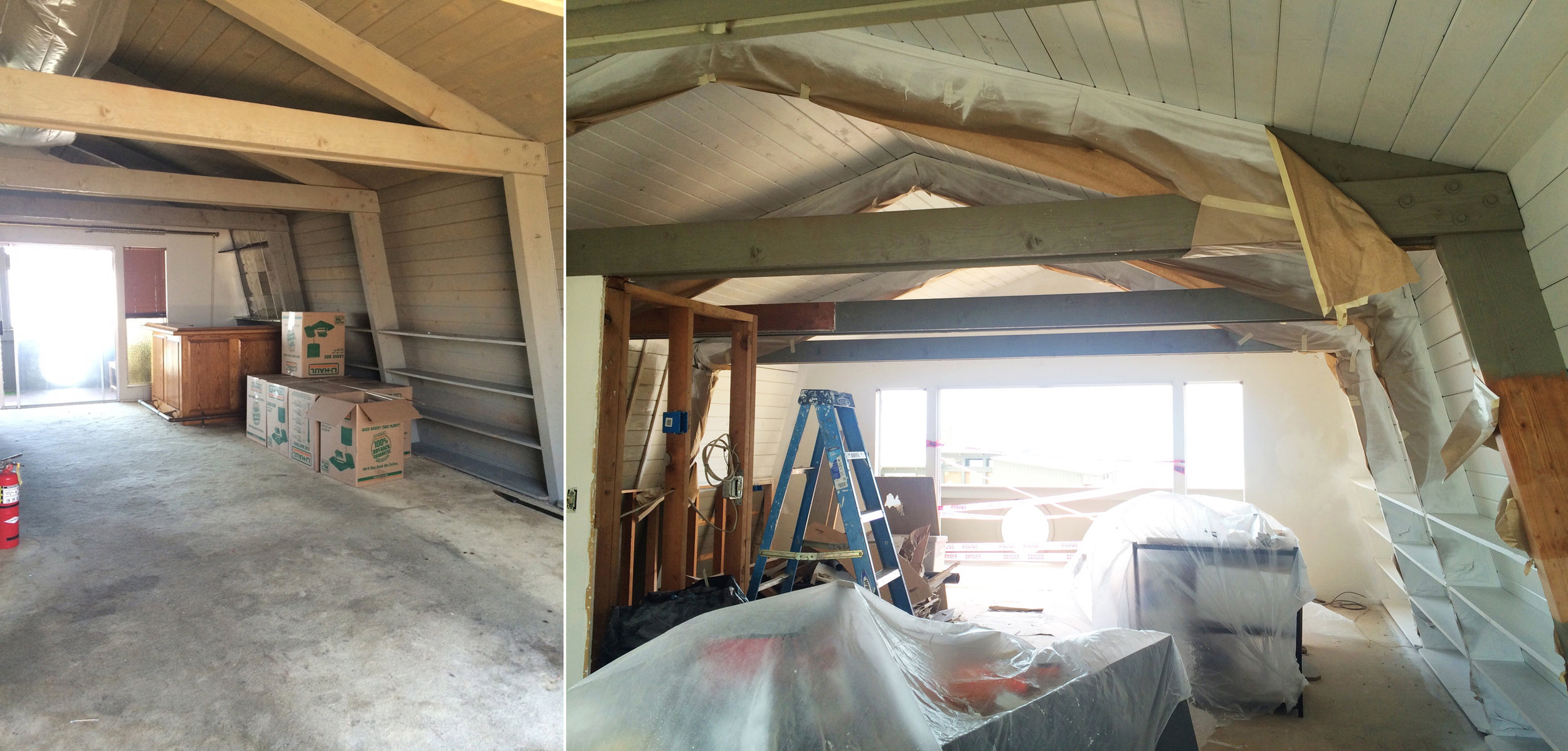 Progress photo of renovation to the living quarters of The Beach Lodge.
