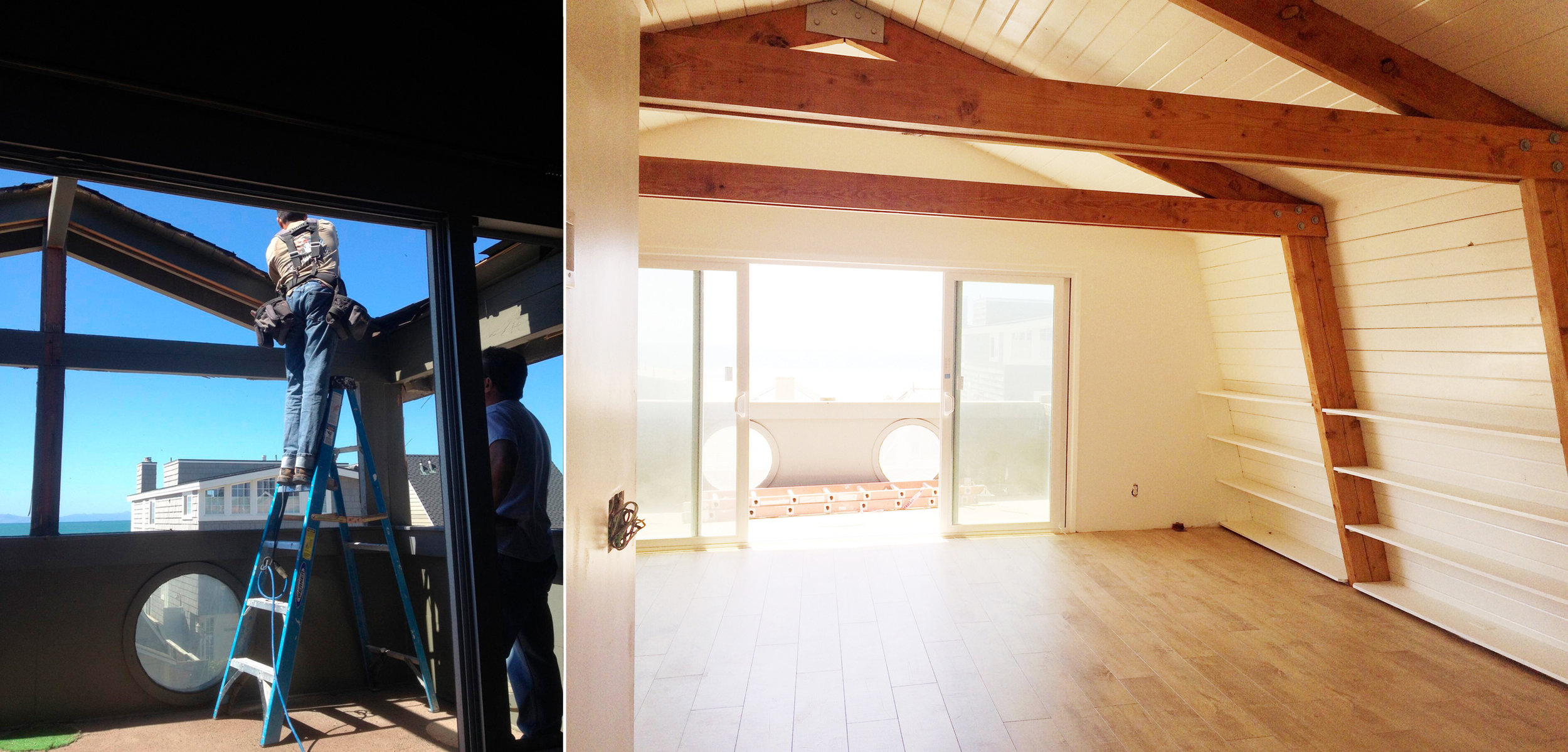 Rooftop is removed off of enclosed balcony and laminate floors are installed in The Beach Lodge living quarters.