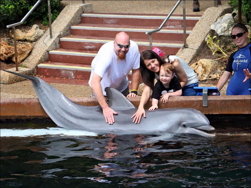 Finn and his Mom & Dad at SeaWorld