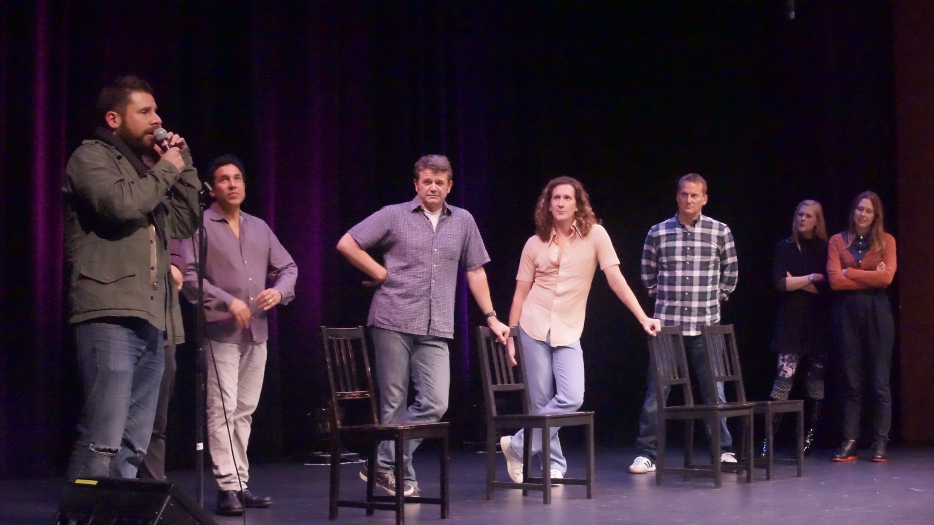 James Roday, Oscar Nunez, John Michael Higgins, Ian Brennan, Michael Hitchcock, Janet Varney and Jessica Makinson at Theme Park Improv at SF Sketchfest, January 16, 2016. Photo by Steve Agee.