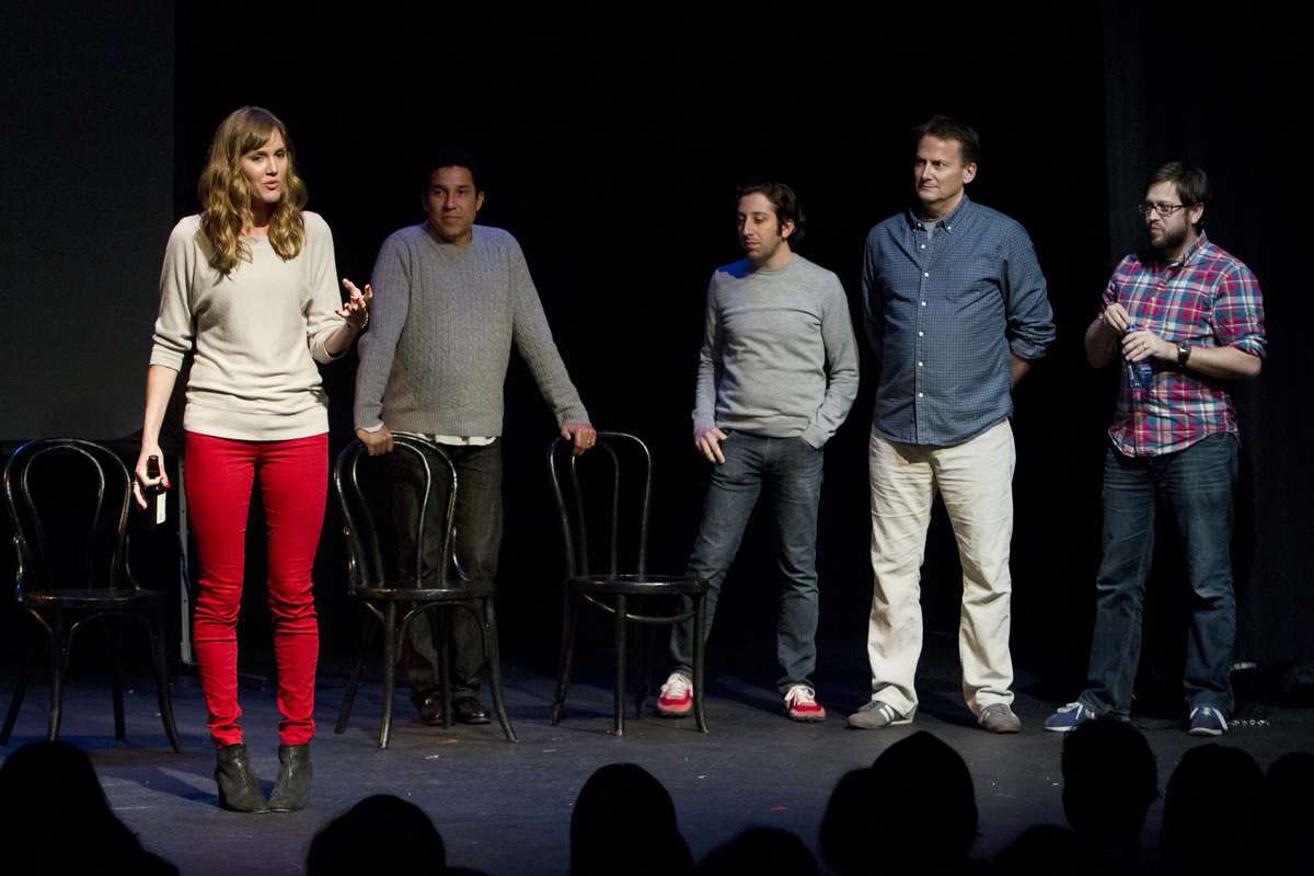 Erinn Hayes, Oscar Nunez, Simon Helberg, Michael Hitchcock and Cole Stratton at Theme Park Improv at SF Sketchfest, February 9, 2013. Photo by Jakub Mosur.