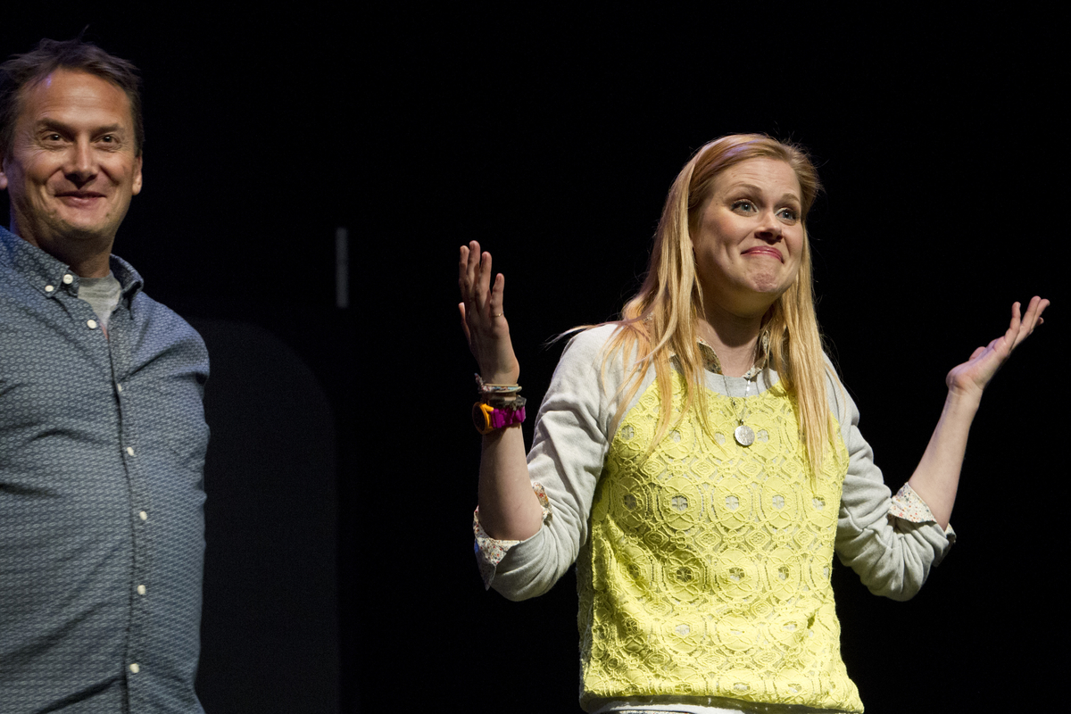 Michael Hitchcock and Janet Varney at Theme Park Improv at SF Sketchfest, February 9, 2013. Photo by Jakub Mosur.