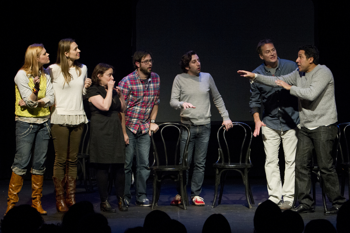 Janet Varney, Jessica Makinson, Cole Stratton, Simon Helberg, Michael Hitchcock and Oscar Nunez at Theme Park Improv at SF Sketchfest, February 9, 2013. Photo by Jakub Mosur.