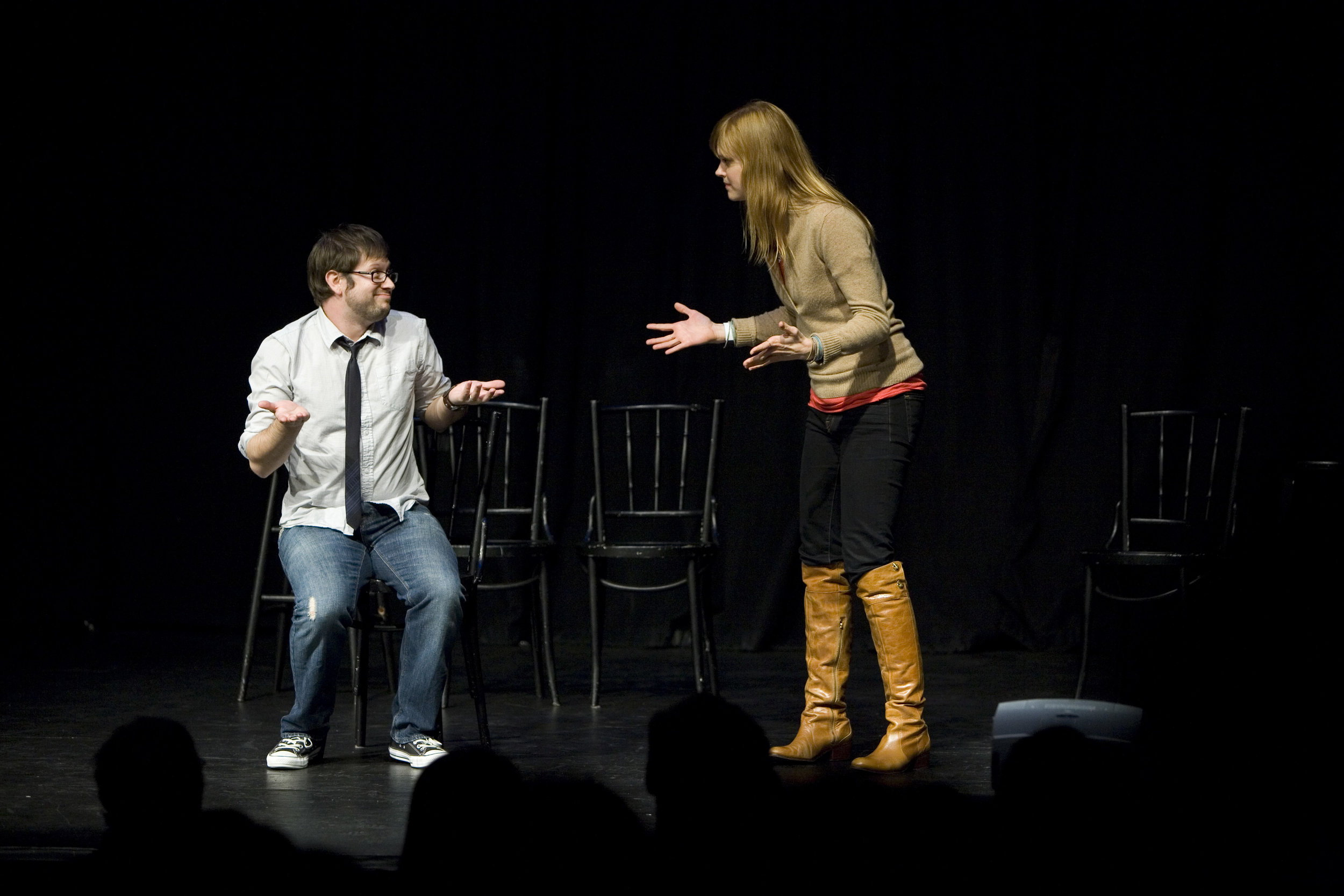 Cole Stratton and Janet Varney at Theme Park Improv at SF Sketchfest, January 23, 2011. Photo by Tommy Lau.