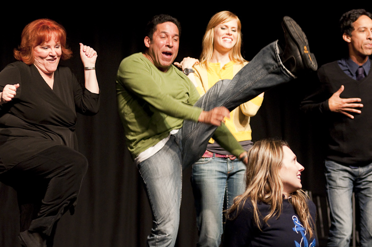 Edie McClurg, Oscar Nunez, Janet Varney, Jessica Makinson and Danny Pudi at Theme Park Improv at SF Sketchfest, January 29, 2010. Photo by Ameen Belbahri.