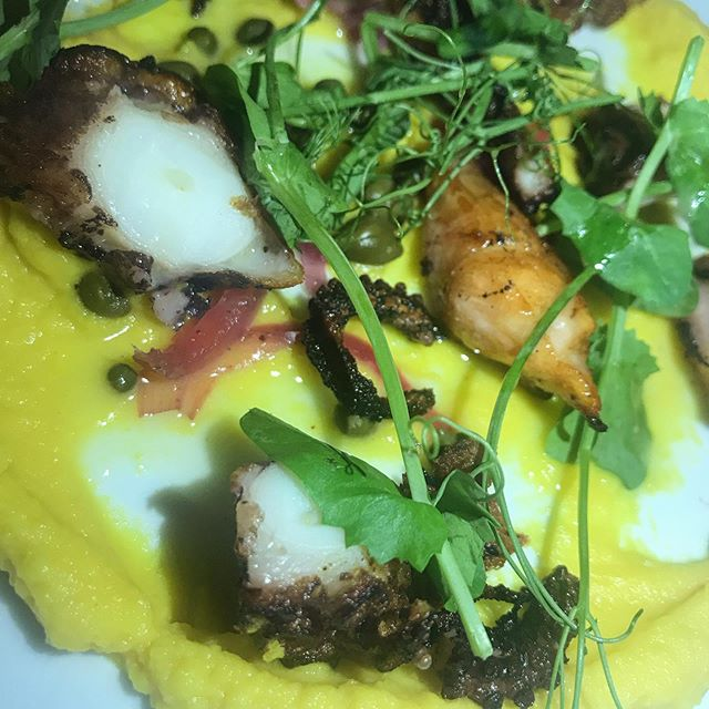 What a #delicious grilled #octopus with #saffron #favabeans puree here in DC @zaytinya by chef @chefjoseandres  Wow!