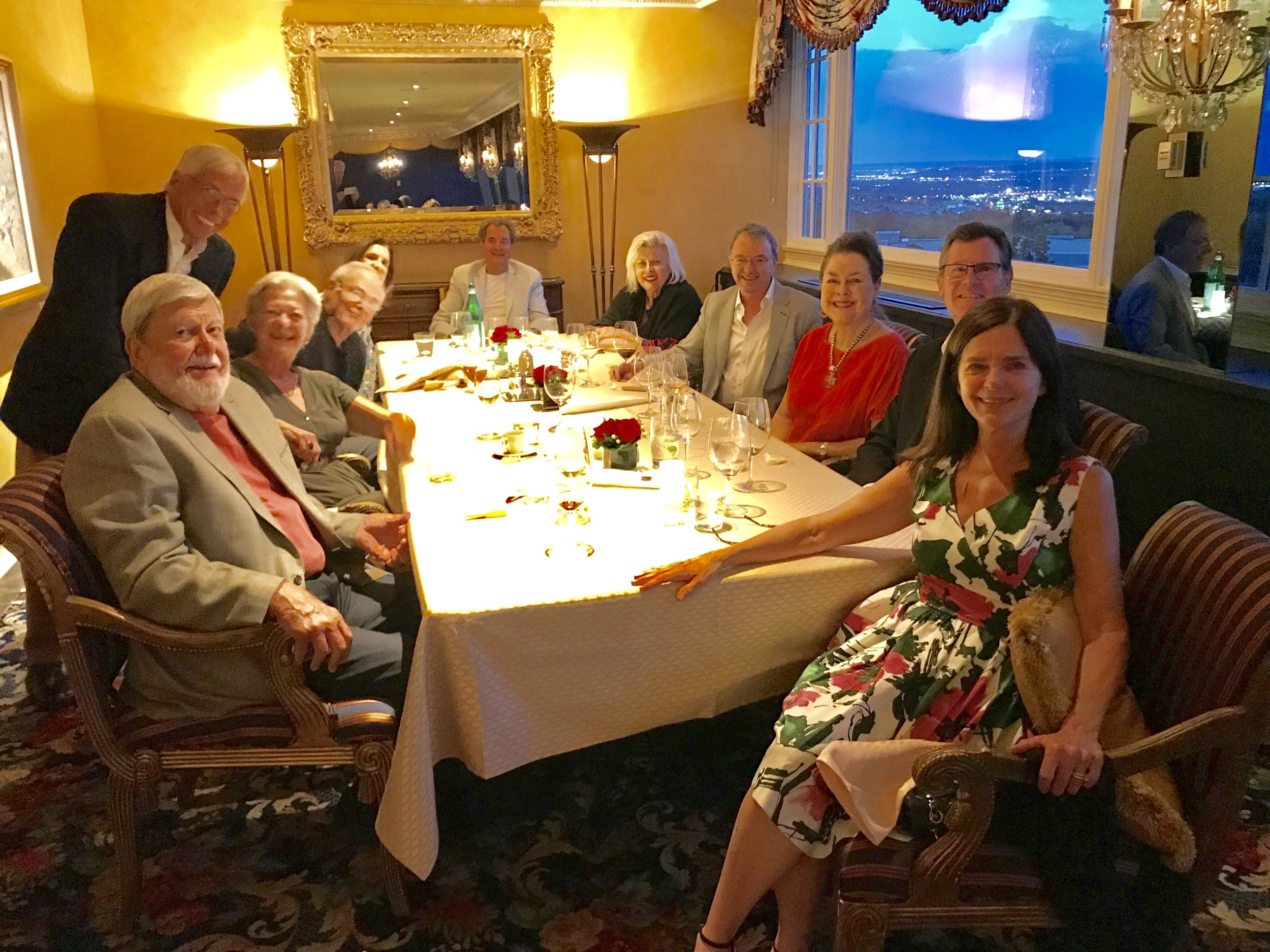 Don Howarth, Suzelle M. Smith, Julie and Bob Finnerty, Jackie Perry, Bob and Lyn Parks, Paul Sreenan, and Dicky and Mary Gay Grigg.  Penrose Room Broadmoor, IATL Meeting Colorado Springs, July 2018