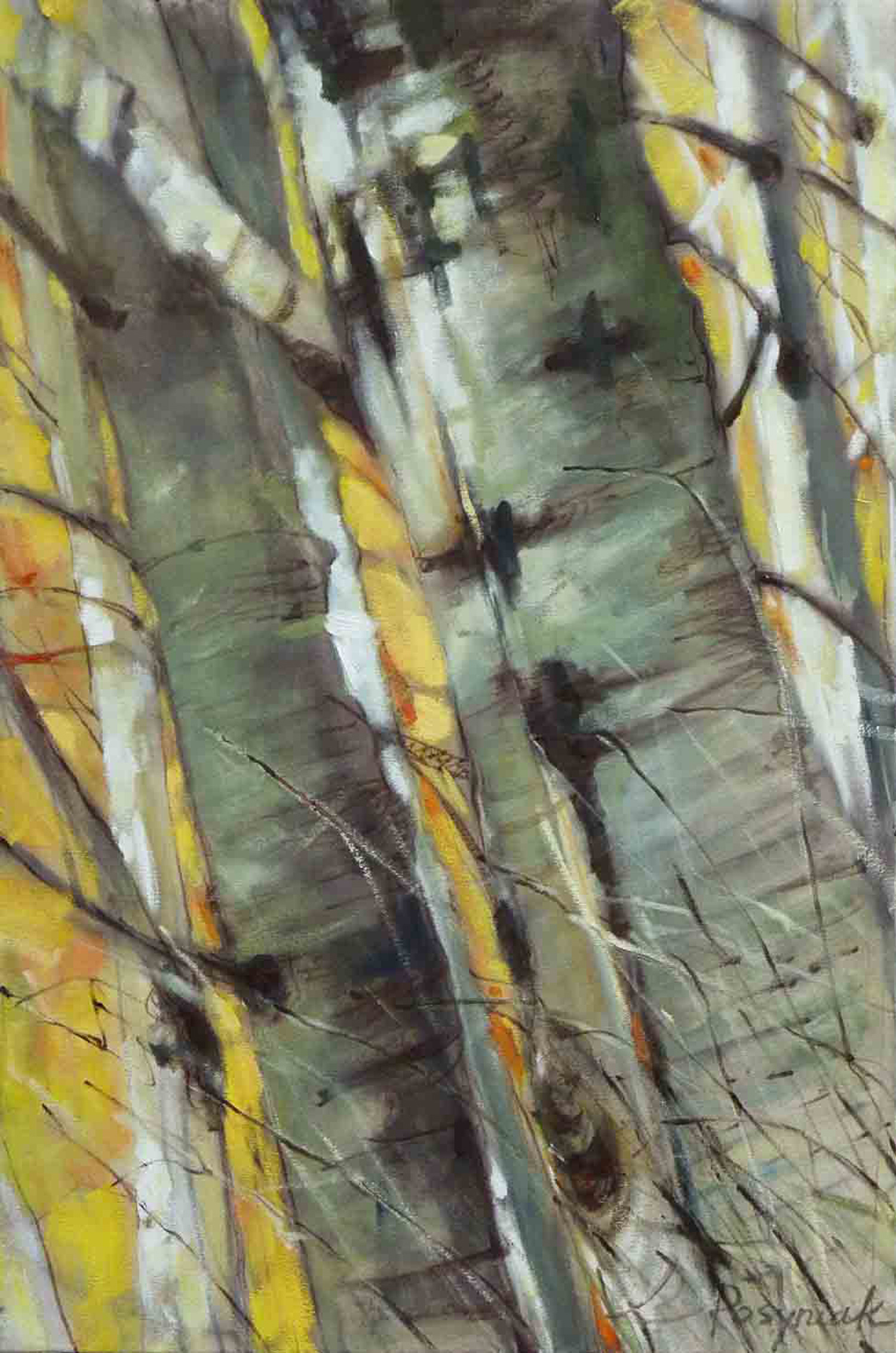 Aspen Fall 1, encaustic on canvas 36.0 x 24.0 in