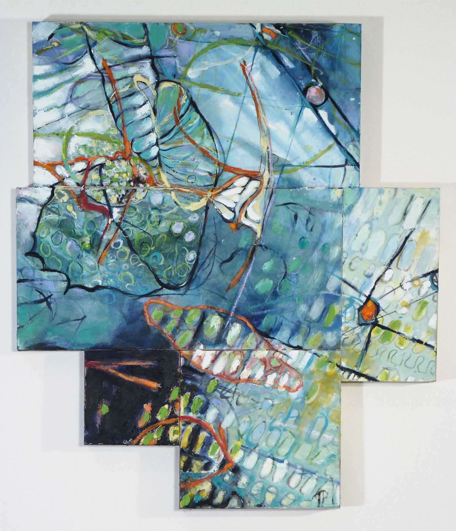 The Deeps Tapestry 5, encaustic & mixed media on panel,  26 x 30 x 1.75 in.