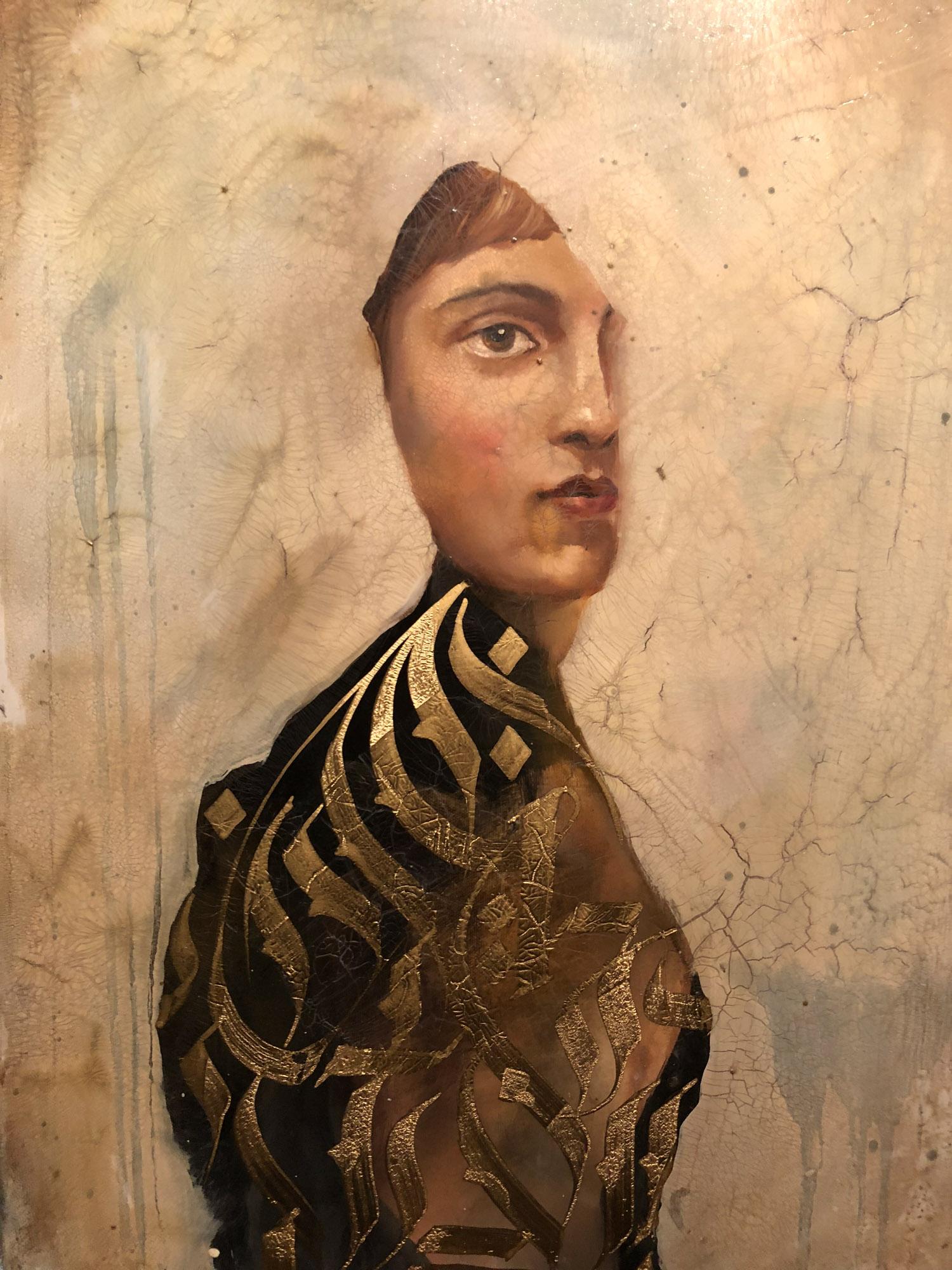Koan, oil & paint marker on canvas, 22 x 16 in.