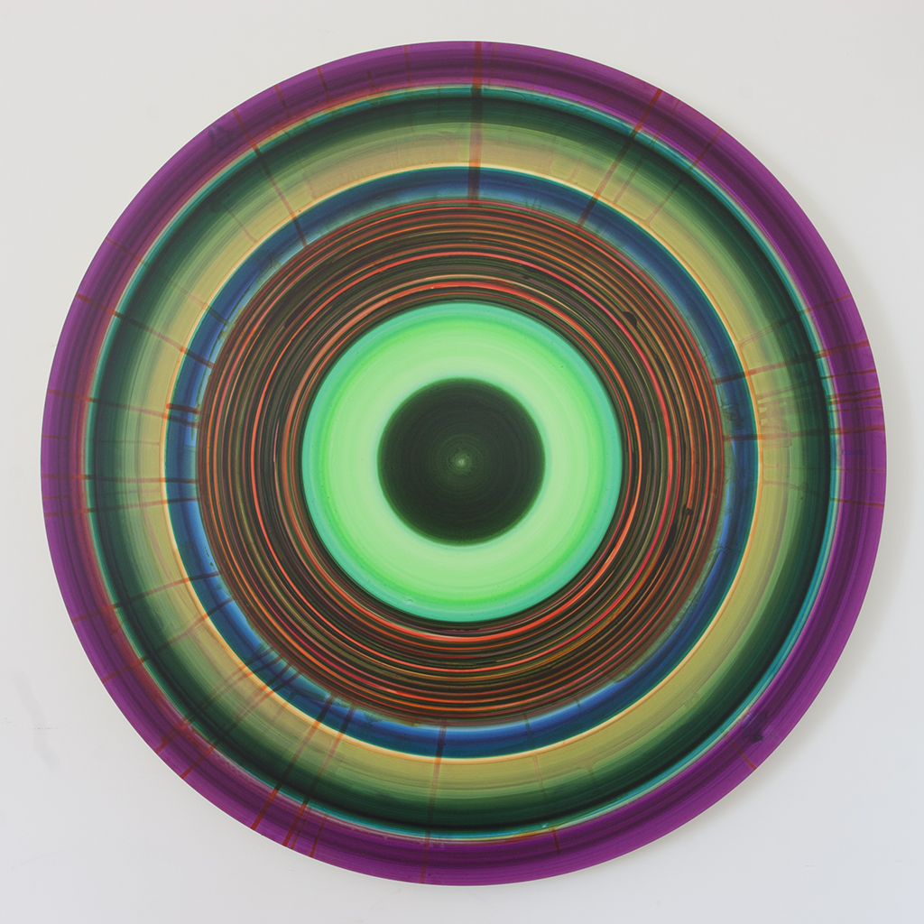 Ulrich Panzer, untitled (14-41-5), acrylic & ink on myalr mounted to aluminum, 41 in. diameter
