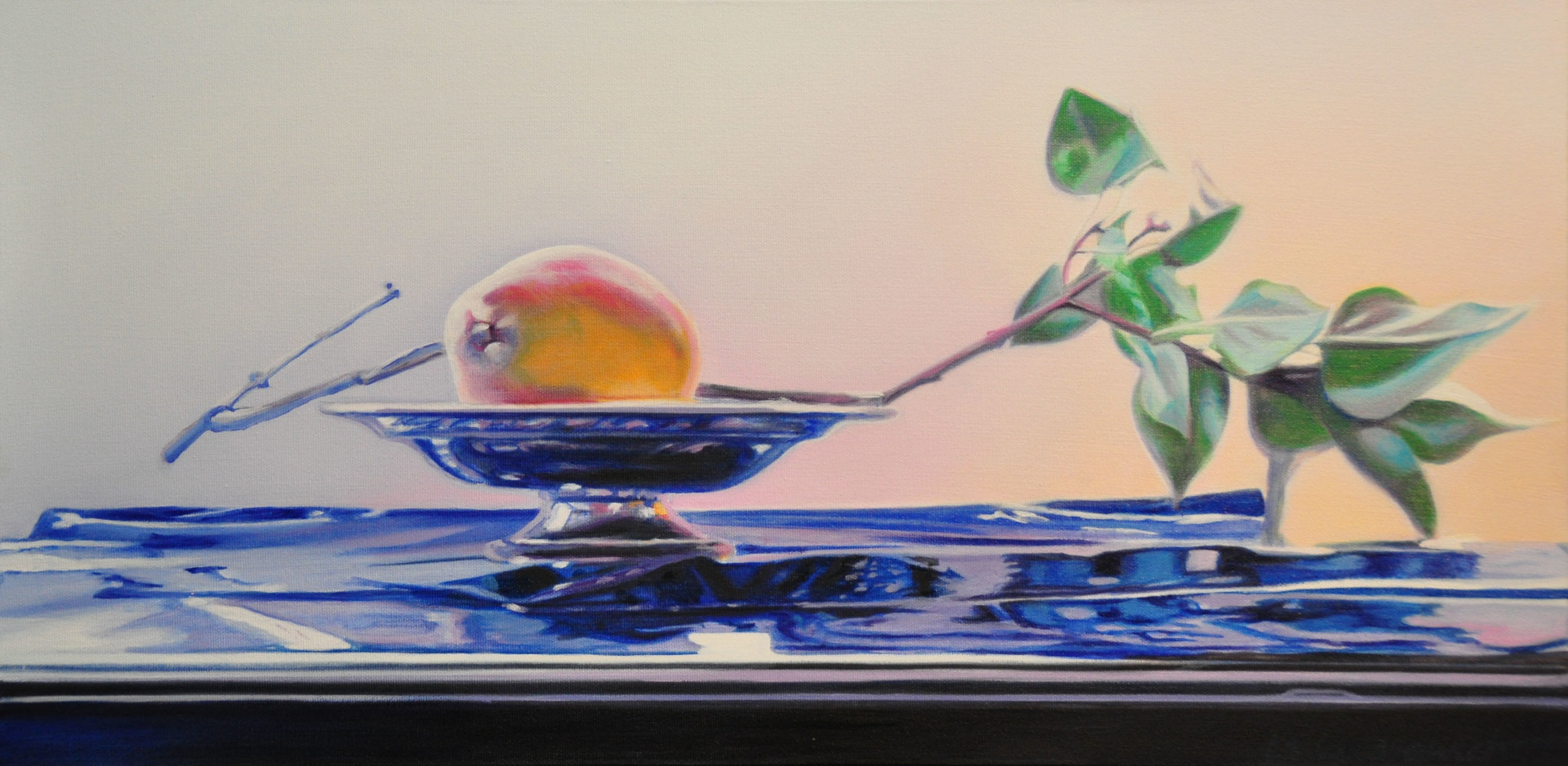 Lilac Branch, oil & alkyd on canvas, 12 x 24 in.