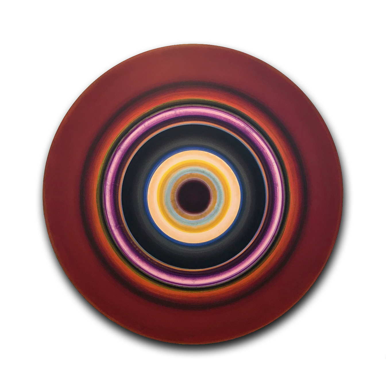 Ulrich Panzer, untitled (17-48-1), acrylic on aluminum, 48 in. diameter