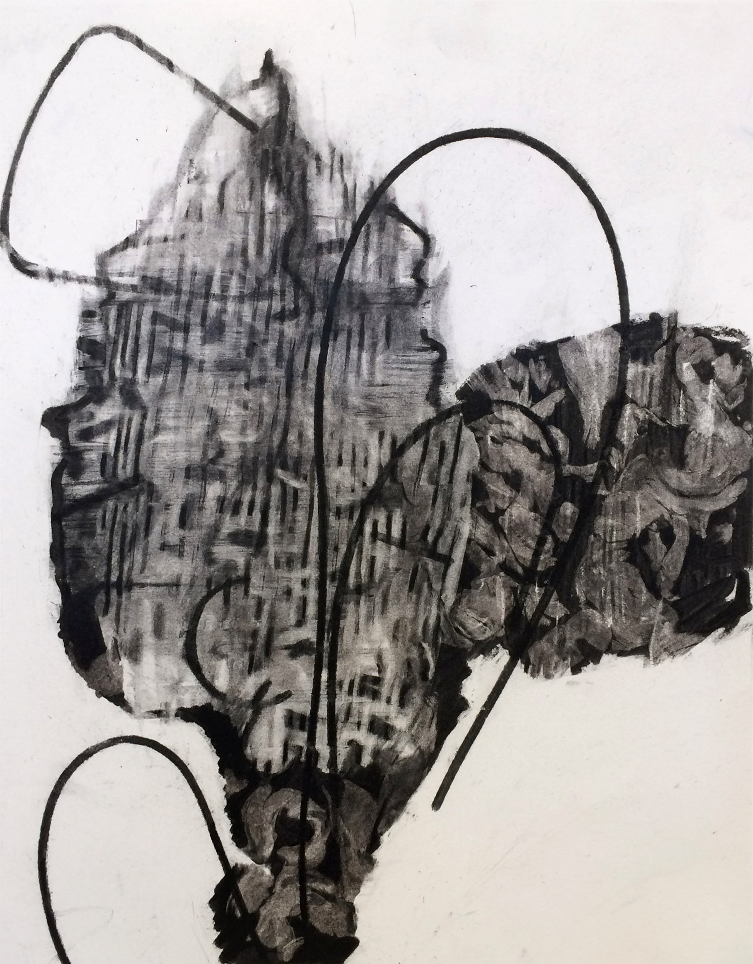 Insistent Verticals, charcoal on acid free paper, 17 x 14 in.