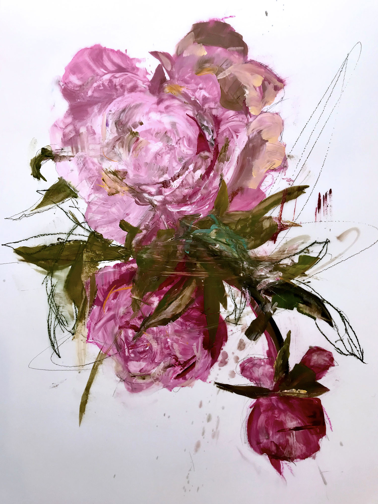 Madeleine Lamont, Effloresce 3, oil on mylar, 36 x 24 in.