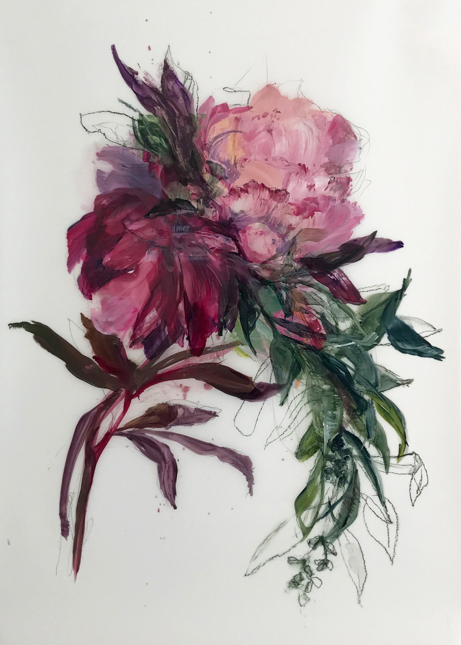 Madeleine Lamont, Pink Bouquet with Greenery 1, oil on mylar, 36 x 24 in.