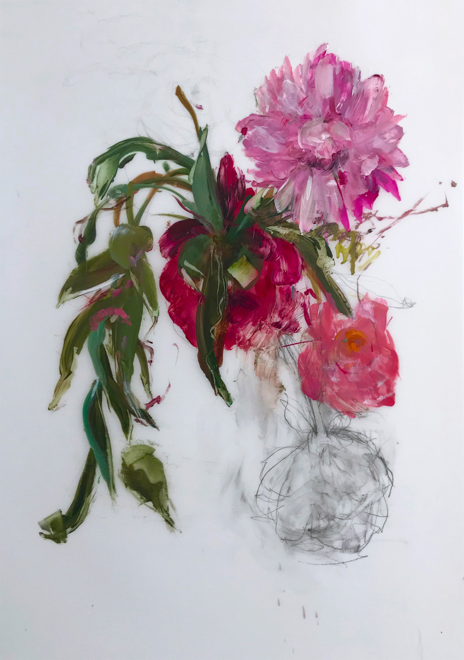 Madeleine Lamont, Pink Bouquet with Greenery 2, oil on mylar, 36 x 24 in.