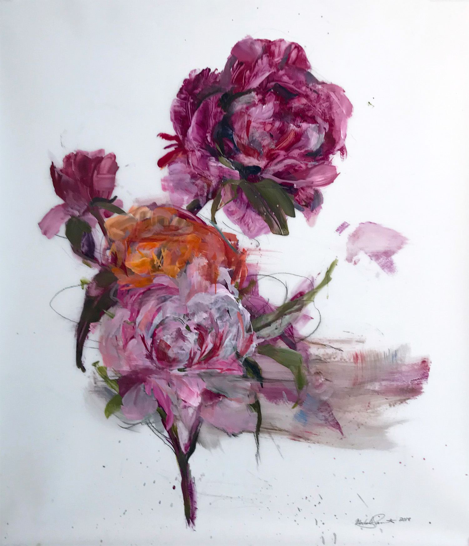 Madeleine Lamont, Pink Bouquet with Orange, oil on mylar, 41 x 36 in.