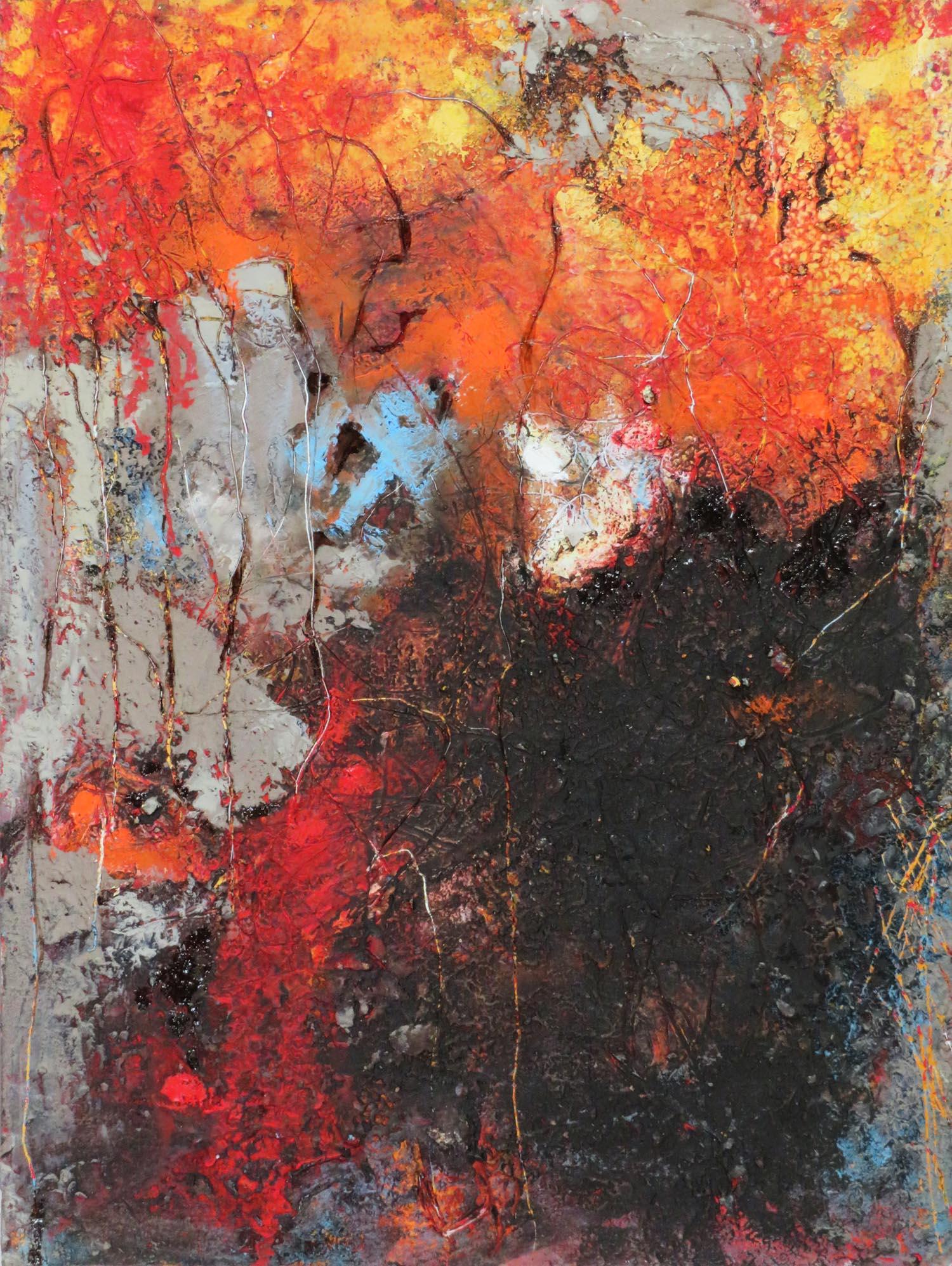 """Wild Torches II"", oil & cold wax on cradled birch, 16 x 12 in."