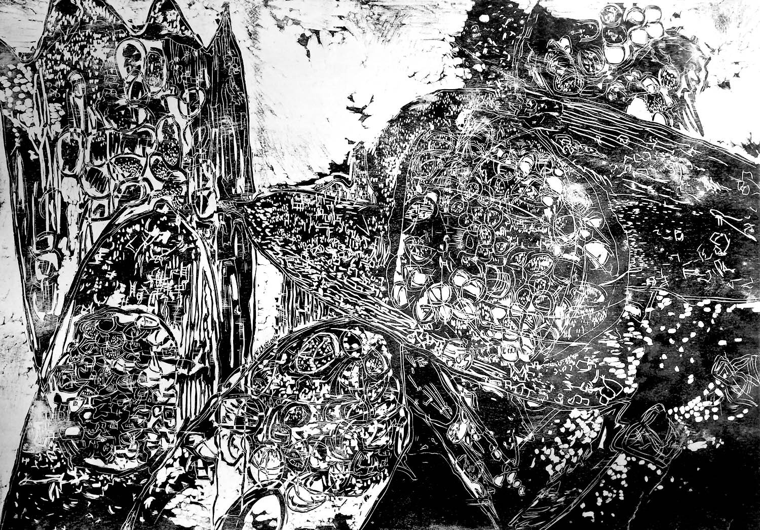 Gyroid, ed. 1/5, hand-printed woodcut on paper, 42 x 60 in.