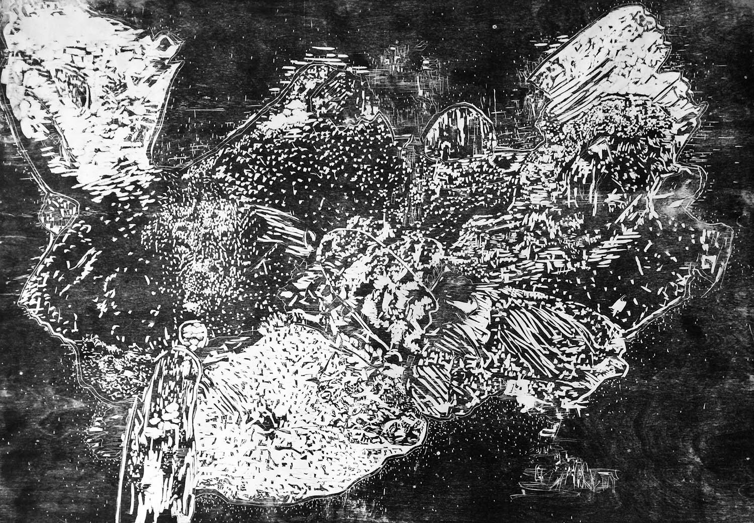 Airborne, ed. 1/5, hand-printed woodcut on paper, 42 x 60 in.