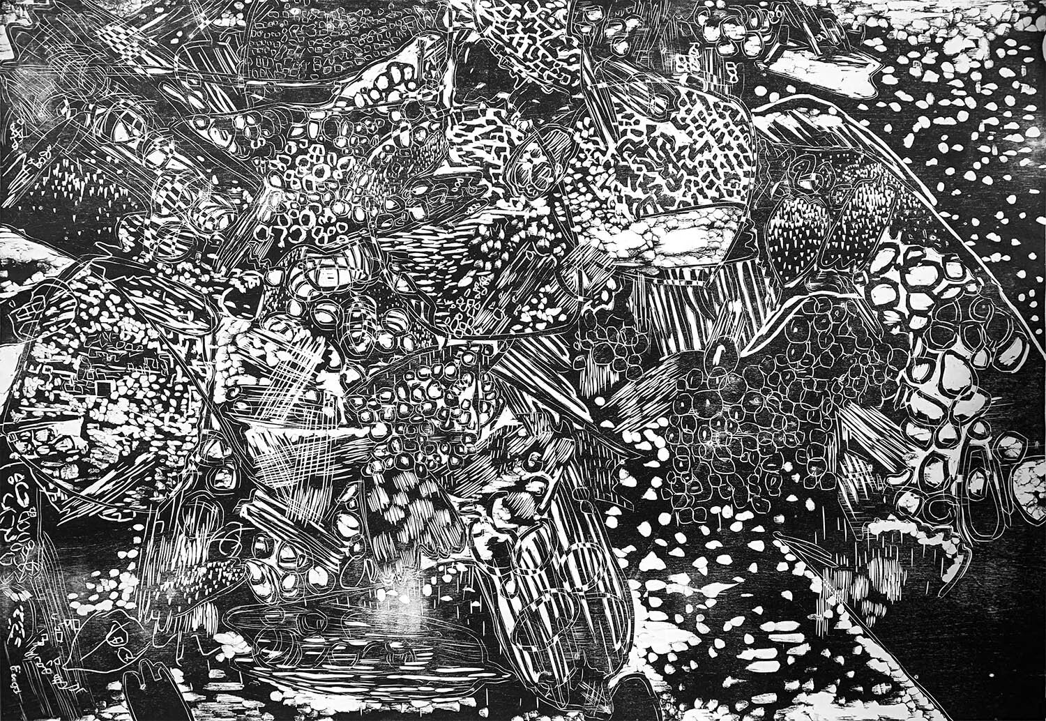 Reticulate, ed. 1/5, hand-printed woodcut on paper, 42 x 60 in.