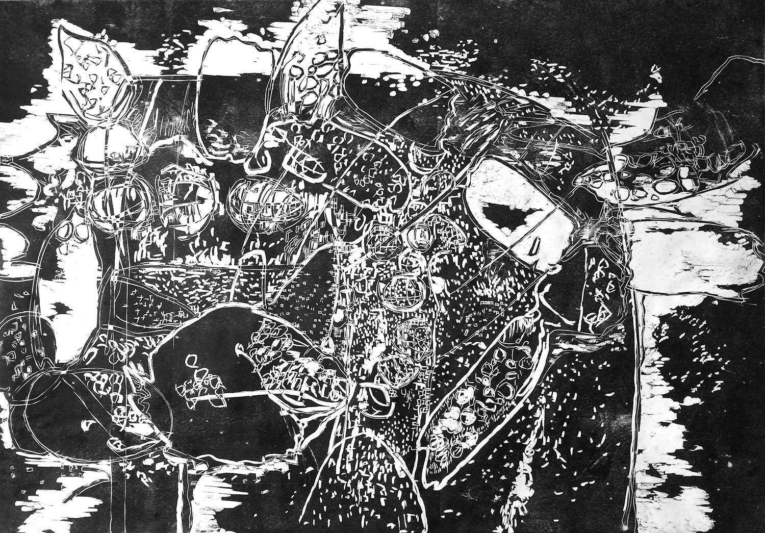 Surge, ed. 1/5, hand-printed woodcut on paper, 42 x 60 in.