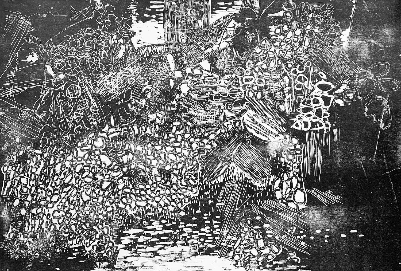 Lattice, ed. 1/5, hand-printed woodcut on paper, 42 x 60 in.
