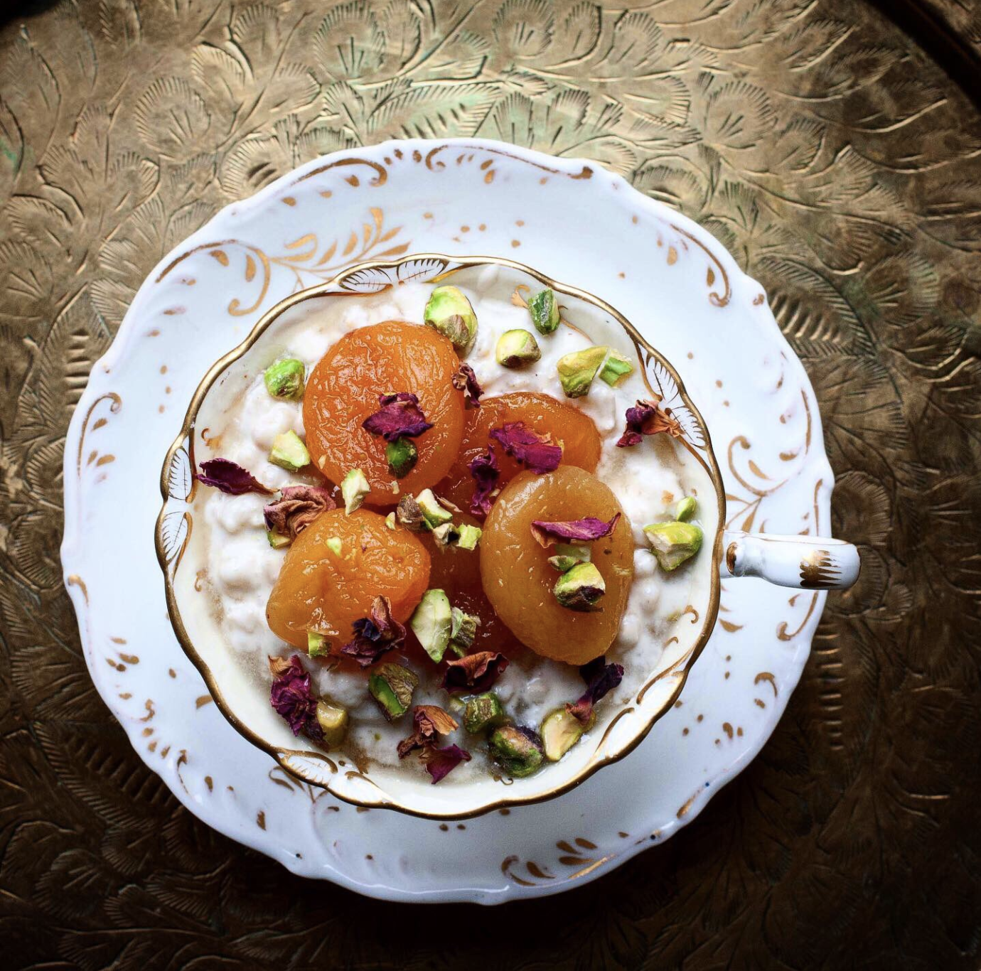 Barley Frumenty with Poached Apricots