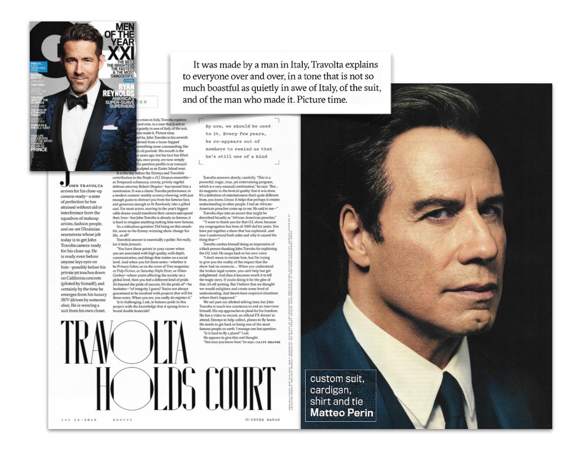 John Travolta wearing Matteo Perin in GQ